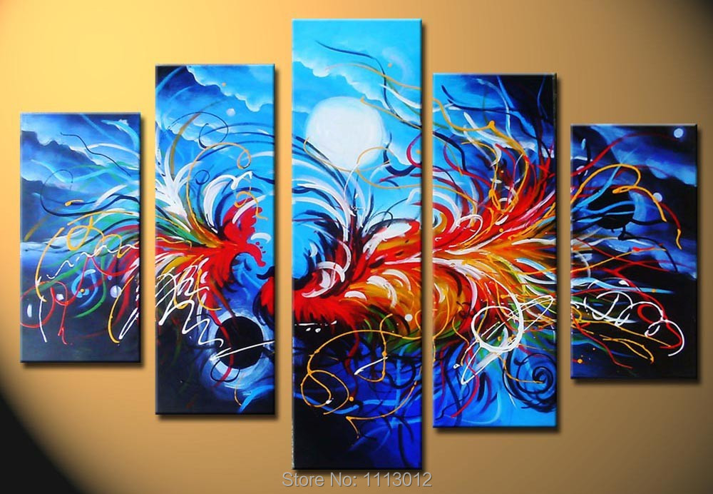 Abstract Phoenix Color Oil Painting On Canvas High Quality 5 Pcs Home Wall Art Decoration Modern Picture For Living Room Sale
