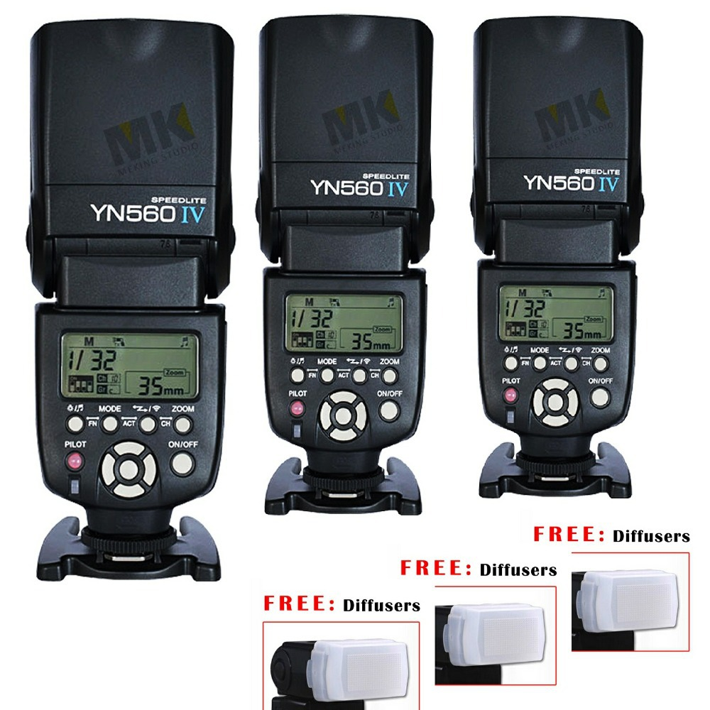 3pcs Yongnuo YN560 IV Flash Speedlite Speedlight for Canon Nikon Pentax Olympus Panasonic wireless Support RF602 RF603 RF605 uyigao ua824 digital decibel sound level meter noise meter tester with max min hold 30dba 130dba range 9v battery included
