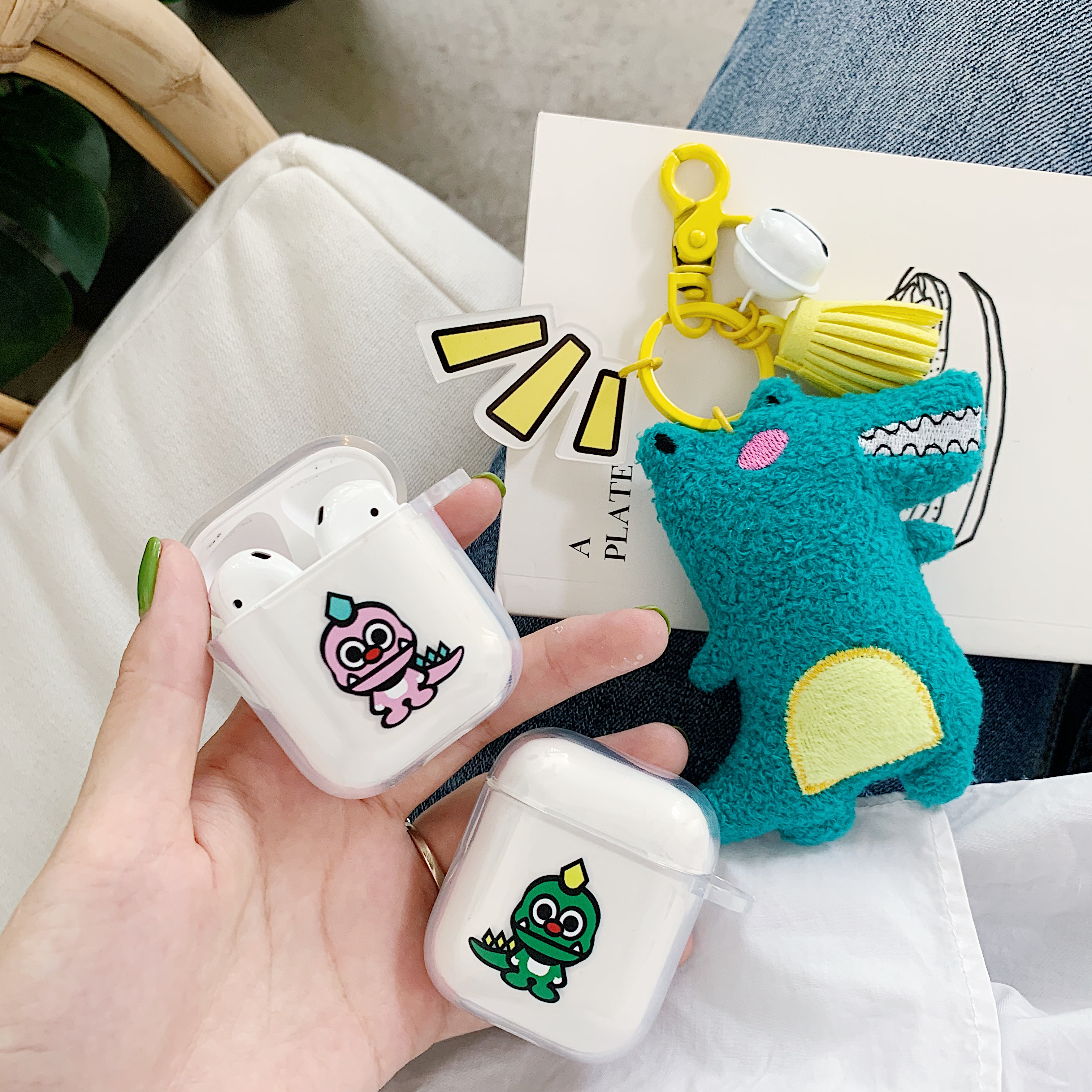 Cartoon Dinosaur Couple Wireless Bluetooth Earphone Cute Case For Apple AirPods 2 1 Silicone Charging in Earphone Accessories from Consumer Electronics