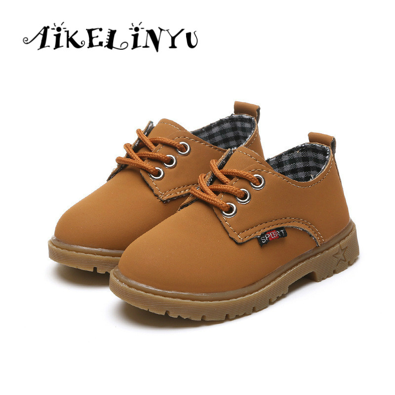 AIKELINYU 2017 Autumn Children yellow leather shoes girls Boys British style Martin shoes kids Front tie boys black school shoes