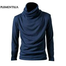 4847811d55 2018 Men's Long Sleeve Knitted T-Shirt Slim Male High Neck Solid Top Cotton  Pullover Autumn Tees Casual Basic Camisetas Fashion