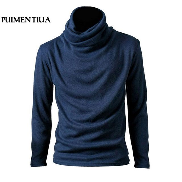 2018 Men's Long Sleeve Knitted T-Shirt Slim Male High Neck Solid Top Cotton Pullover Autumn Tees Casual Basic Camisetas Fashion