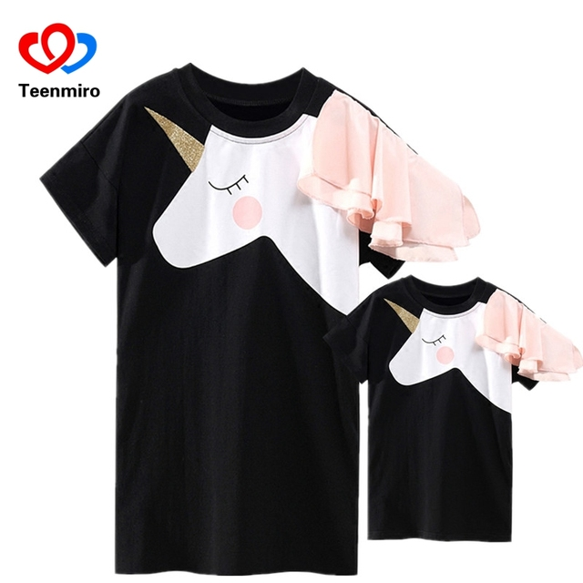 家族マッチング服母娘ドレスマッチユニコーンtシャツママママ & 私 3Dプリント服おかしい衣装