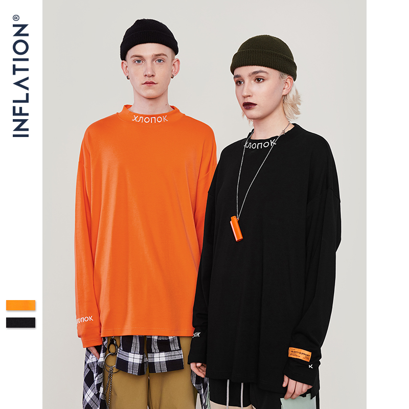 INFLATION Long Sleeve  T-shirt Streetwear Stand Collar Retro T-shirt Pullover Men Women Hip Hop Orange Emboridery Tshirt  8702W sweatshirt