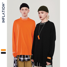 INFLATION Streetwear Stand Collar Retro T-shirt Pullover Men Women Hip Hop Orange
