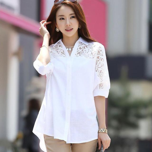 Plus Size Women Blouses White Cotton Lace Patchwork Turn-down Collar Batwing Sleeve Fashion Loose Long Tops Femme M-4XL Hot Sale