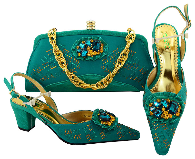 купить QSGFC Teal Color Fashion Italian Shoes With Matching Bags Set For Wedding And Party African Shoes And Bag Sets With Rhinestone по цене 3988.73 рублей