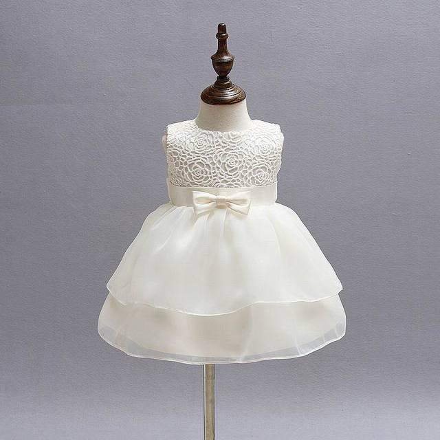 f7ce36ffabe7 Newborn Baby Girls Princess Birthday Party White Formal Christening ...