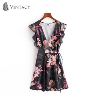 Vintacy Vacation Women Summer Black Party Cap Sleeve Floral Office Vacation Dresses Casual V Neck Women
