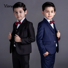 New Boys Party Graduation Suit Wedding Tuxedos Page Boy Slim Kids 3 Piece Suits boys suits 2 piece waistcoat suit wedding page boy baby formal party 3 colours