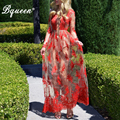 Bqueen 2017 Red Deep V  Floral Embroidery Mesh Lace Maxi Dress Beach Autumn