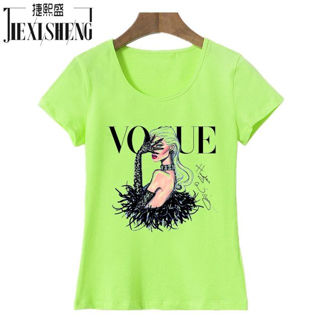 New Women T Shirt VOGUE Beauty 3d Print Cotton O-Neck Tops Tees Summer Style Female T-Shirt fashion ladies funny Clothes 4