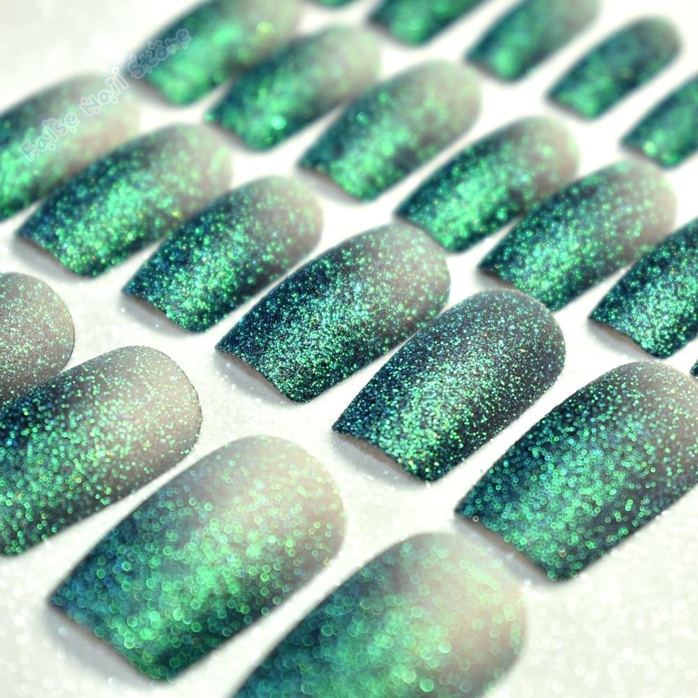 Brillo Verde Oscuro Plano Holográfico Tips Nail Art Full Cover Uñas ...