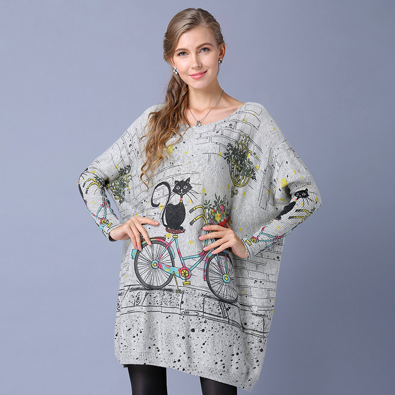 f5d1ecfe13 Wool Blend Long Oversized Cat Bicycle Print Sweater Dress Women Casual Batwing  Sleeve Print Woman Sweaters Pullovers Clothing