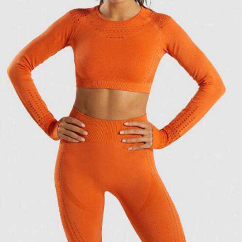 Quentes sem Costura Novas Mulheres Oco-para Fora Malha Esportes Yoga Camisas Mangas Compridas Topos Energia Fitness Ginásio Treino T-shirts