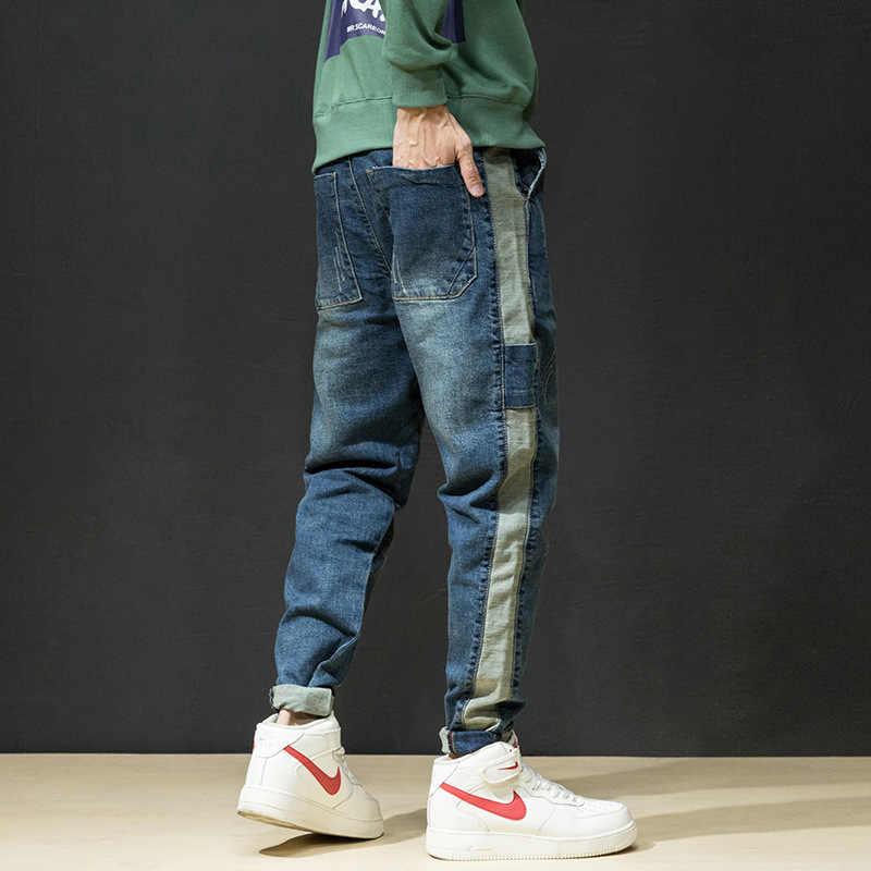 Модные уличные для мужчин джинсы для женщин Голубой Цвет Винтаж дизайн свободный крой зауженные мотобрюки лоскутное штаны-карго хип хоп