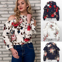 Fashion Women Floral Chiffon Shirts Off Shoulder Blouse Casual Loose Long Sleeve Shirt Summer Tops And Blouse Plus Size Clothing