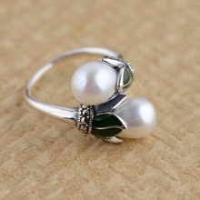 Thai silver ring S925 silver inlaid natural freshwater pearl female cross section simple fashion jewelry rings