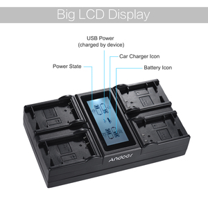 Image 5 - Andoer NP FW50 NPFW50 4 Channel LCD Digital Camera Battery Charger  for Sony A7 A7R A7sII A7II A6500 A6300 A7RII NEX Series