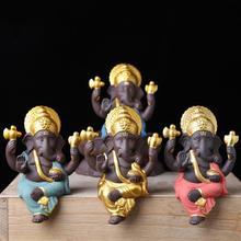 Ceramic Buddha Statues Purple Sand Elephant God Figurines Home Decor Ganesha Decoration Flowerpot Landscape Garden