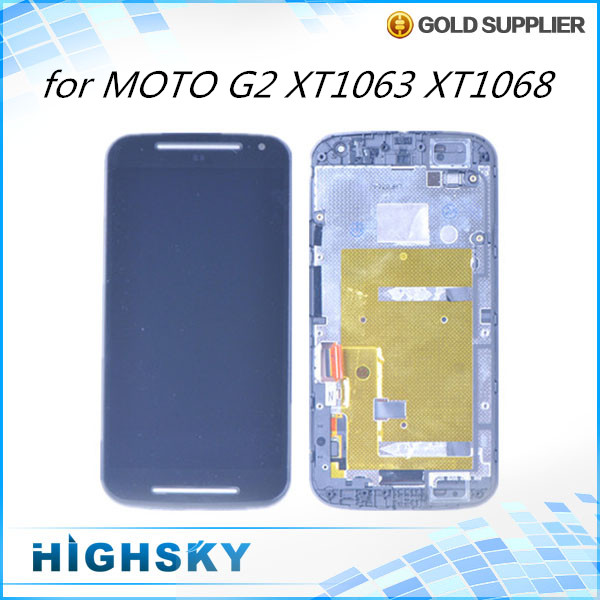 1 piece free shipping replacement parts screen for Motorola MOTO G2 XT1063 XT1068 lcd display + touch digitizer with frame