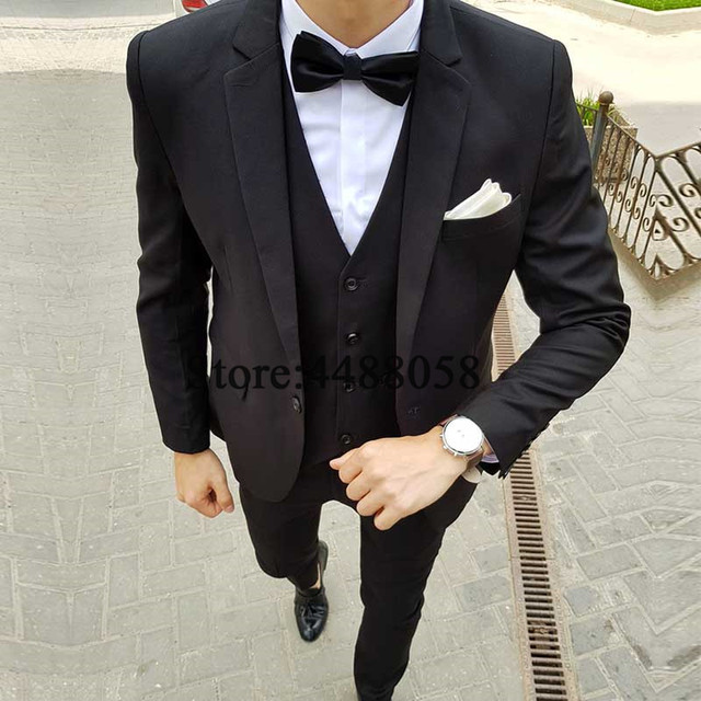 551f9f8910 Latest Coat Pant Designs Black Slim Fit Groom Suit 2019 Costume Homme  Mariage Men Suits For Wedding 3 Pieces Evening Party Dress