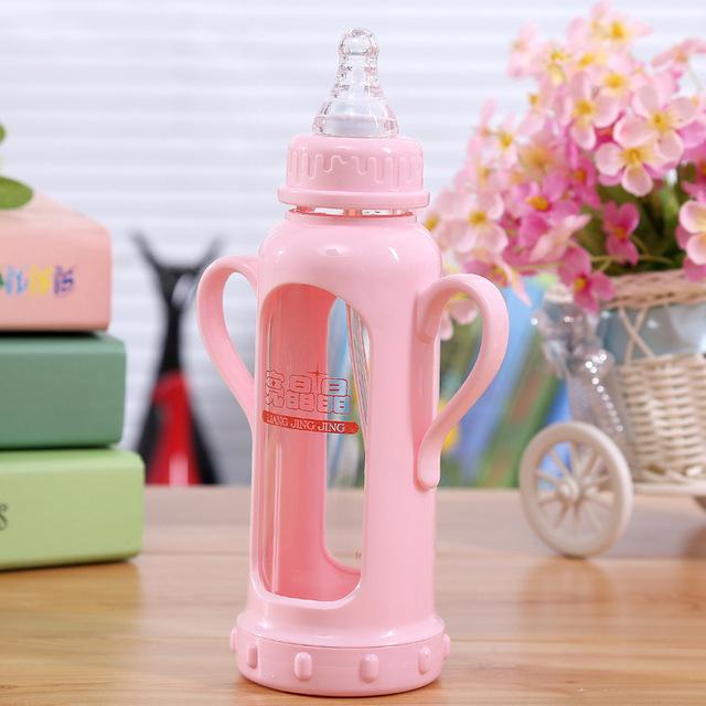 Actualización durable pañal del bebé niños sifón botella de vidrio para beber taza de paja automática taza de mango de diseño cute baby botella envío de la gota