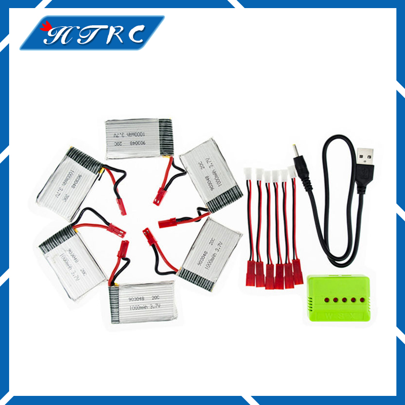 6pcs H11C lipo 3.7v 1000mah battery JST batteries and charger with plug for JJRC H11D H11WH HQ898 rc Quadcopter drone Part 3.7 v 6 pcs 3 7v 520mah batteries and 1 pcs battery charger wsx x6a for wltoys v977 v930 cheerson 6050