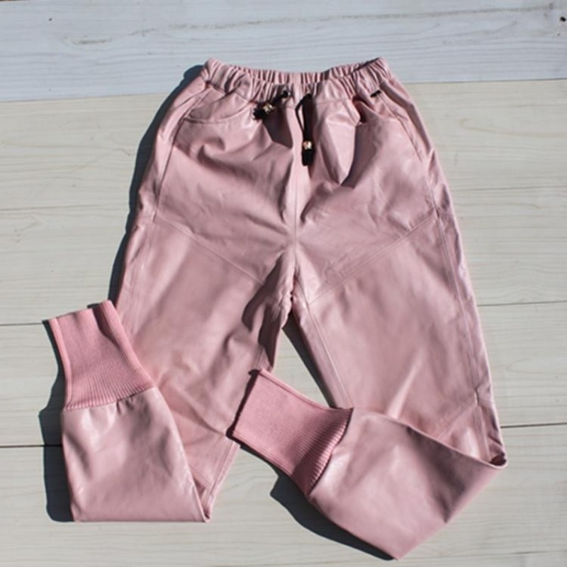 Fashion Women Loose Fit Hip Hop Harem Pants 8 Colors Joggers Casual Trousers Elastic Waist Long Genuine Leather Pants Streetwear