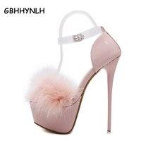 Giày cưới màu trắng dây đeo mắt cá chân gót nền tảng dép bên màu hồng dép 16 cm cao gót dép sexy dép LJA12