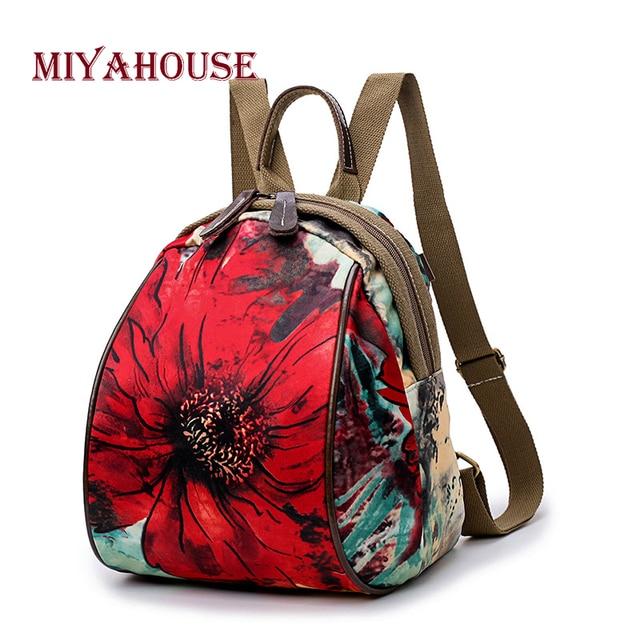 Miyahouse Women Vintage Floral Printed Canvas Backpacks Leisure Female  Travel Rucksacks Korean Girls Flower Small School da716da9fb540