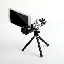 Big discount 12x Monocular Telescope Lens Clip On Telephoto Phone Camera Lens with Tripod Universal for iPhone Android Smart Mobile Phones