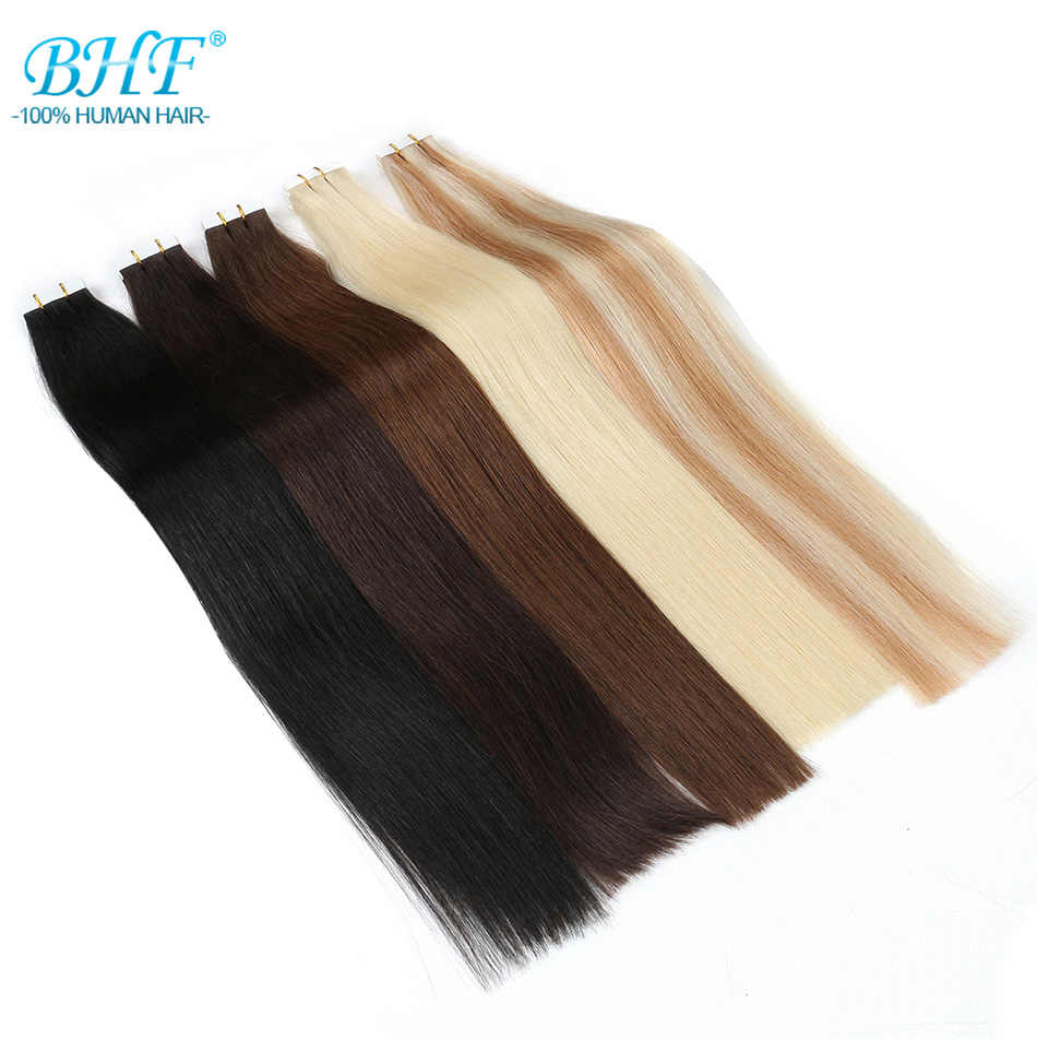 BHF Tape In Human Hair Extensions 20pcs Remy Straight On Adhesive Invisible PU Weft Extension