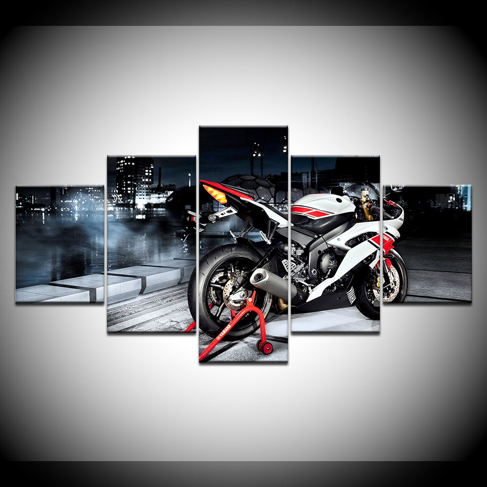 US $5 39 45% OFF|Framework Painting Home Decor For Living Room Art Poster 5  Panel Motorcycle Racing Car Printed On Canvas Wall Modular Picture-in