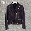 Negro chaquetas de cuero genuino de las mujeres 100% de piel de Cordero chaqueta de la motocicleta abrigos jaqueta de couro pour femme veste cuir verdadera LT502
