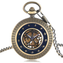 Mechanical Watches Japanese Movement Dark Blue Stars Style Vintage Fob Chain Pocket Watch Men's Women's Pendant with bag Gifts
