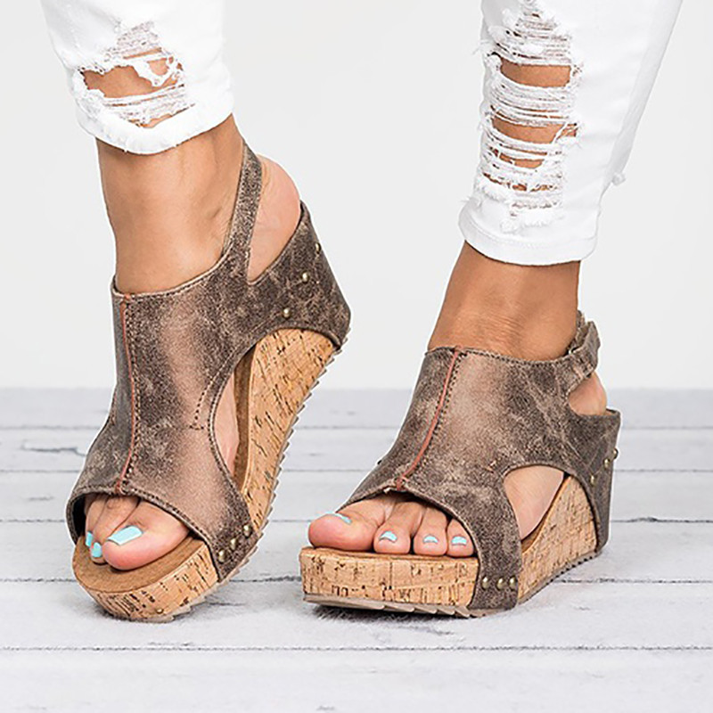 d24d56c8b63 Women Fashion Casual Wedges High Heel Open Toe Sandals Shoes Summer Cute  Ankle Strap Shoes In Black Brown and Khaki