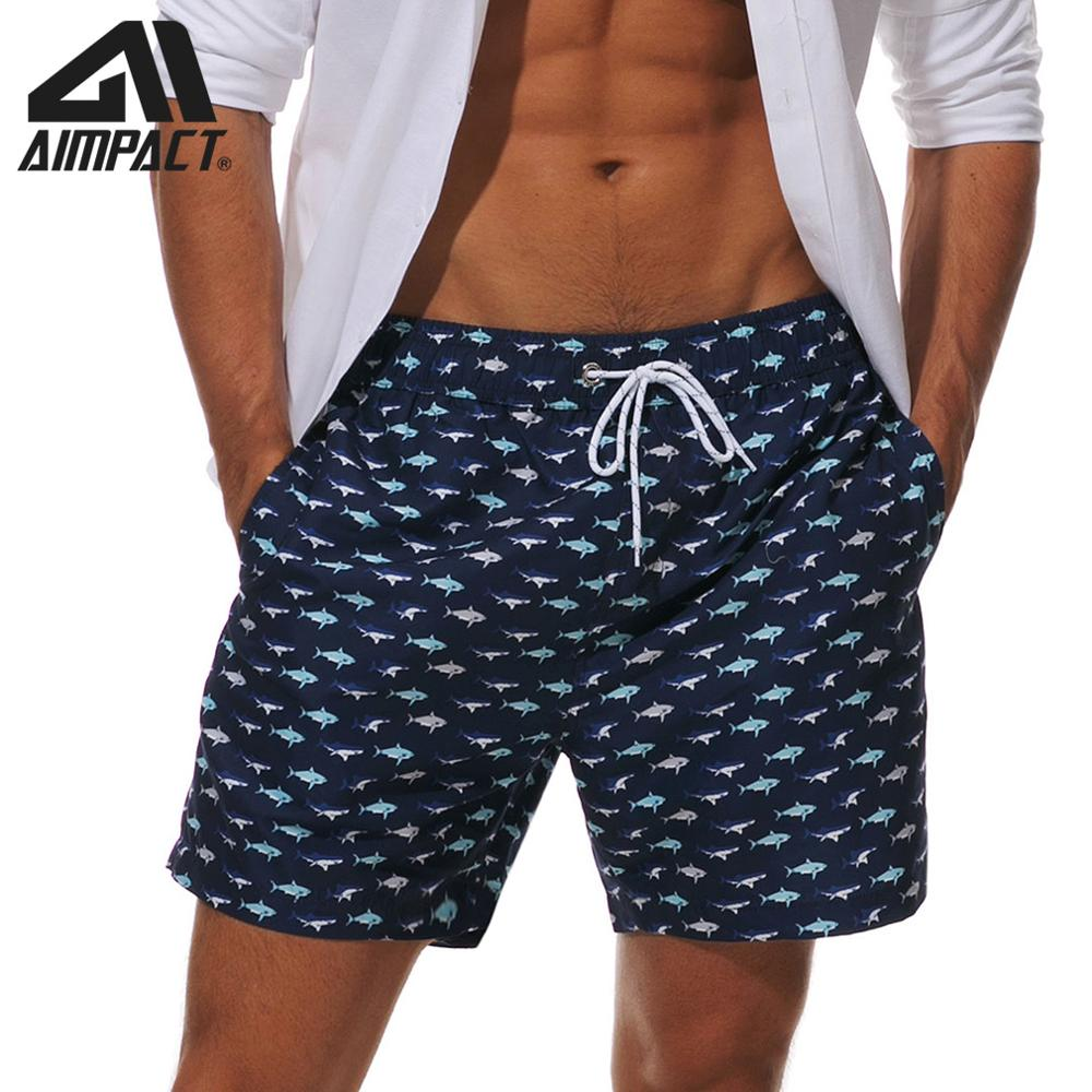AIMPACT Mens Swimming Trunks Blue Tiny Fish Beach   Board     Shorts   Funny Sport   Shorts   With Mesh Lining Pockets Bathing Suit AM2205