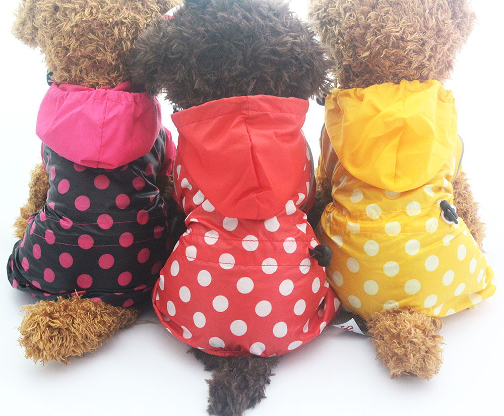 Pet Dog Raincoat Jumpsuit Polka Dot Pet Puppy Coat Jacket Waterproof Clothes 5 sizes