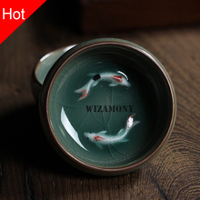 2 stücke Chinesischen Longquan Celadon Porzellan Teetassen teekanne Teetasse Teetasse schüssel Golden Fish 60 ml China teaset Teekanne Knistern Tee Set