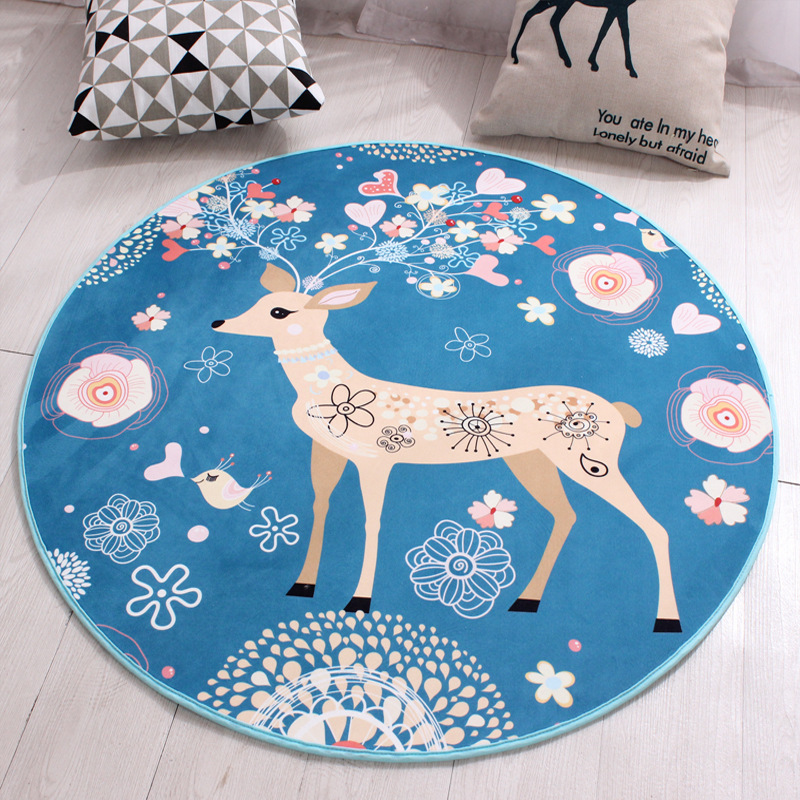 Cartoon Flower Deer Soft Tapete Thicken Coral Velvet Round Carpet Rug For Kids Children Living Room Christmas Decorative Mats