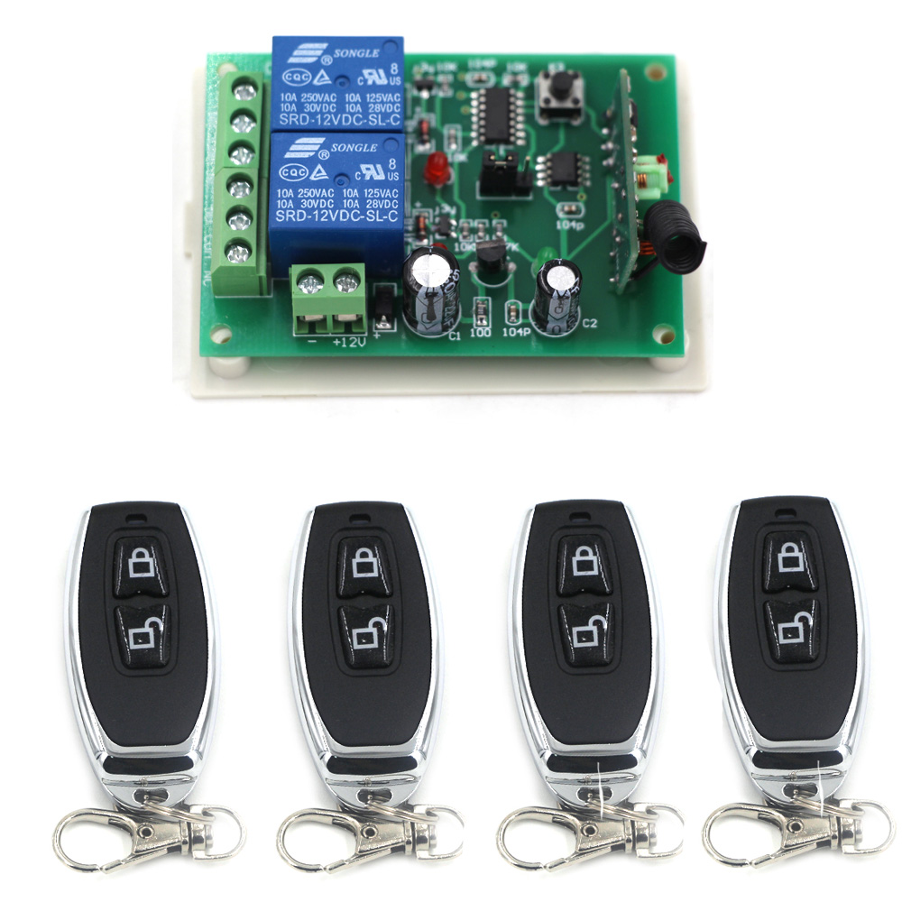 New DC12V 24V 2CH Wireless Remote Control Switch System 4X Transmitter + 1X Receiver Relay Smart House Free Shipping 315/433mhz dc 12v 2ch wireless remote control light switch system mini 2channel receiver with 2pcs 2 button transmitter for smart home