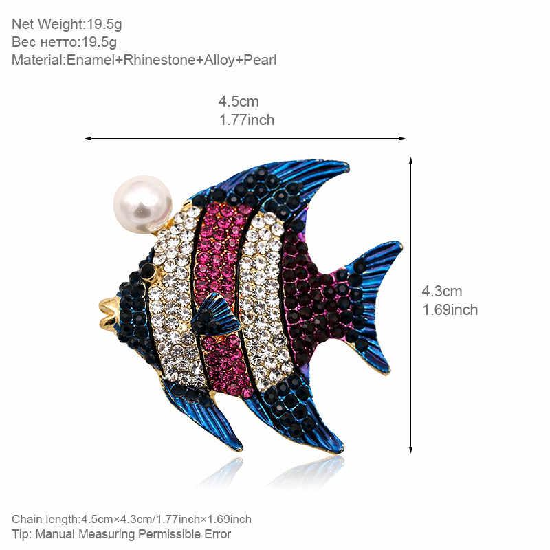 ALLYES Ikan Tropis Bros Untuk Wanita Pakaian Kerah Pin Mutiara Kristal Diaspal Sepenuhnya Besar Hewan Bros Perhiasan
