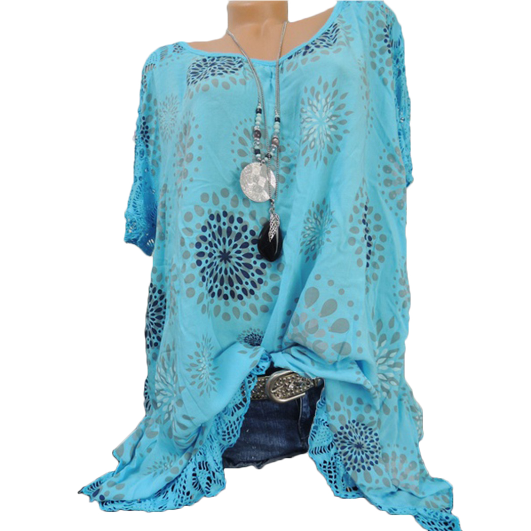 b1d351cbb17 2019 Summer Lace Patchwork Blouse Women Sexy Hollow Out Printed Tunic Tops  Plus Size Short Sleeve