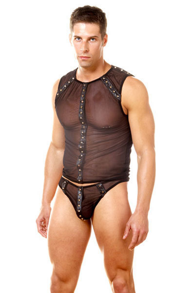 Preto transparente de malha sexy conjuntos de underwear homens gay underwear jockstrap dos homens sexy tanga dos homens