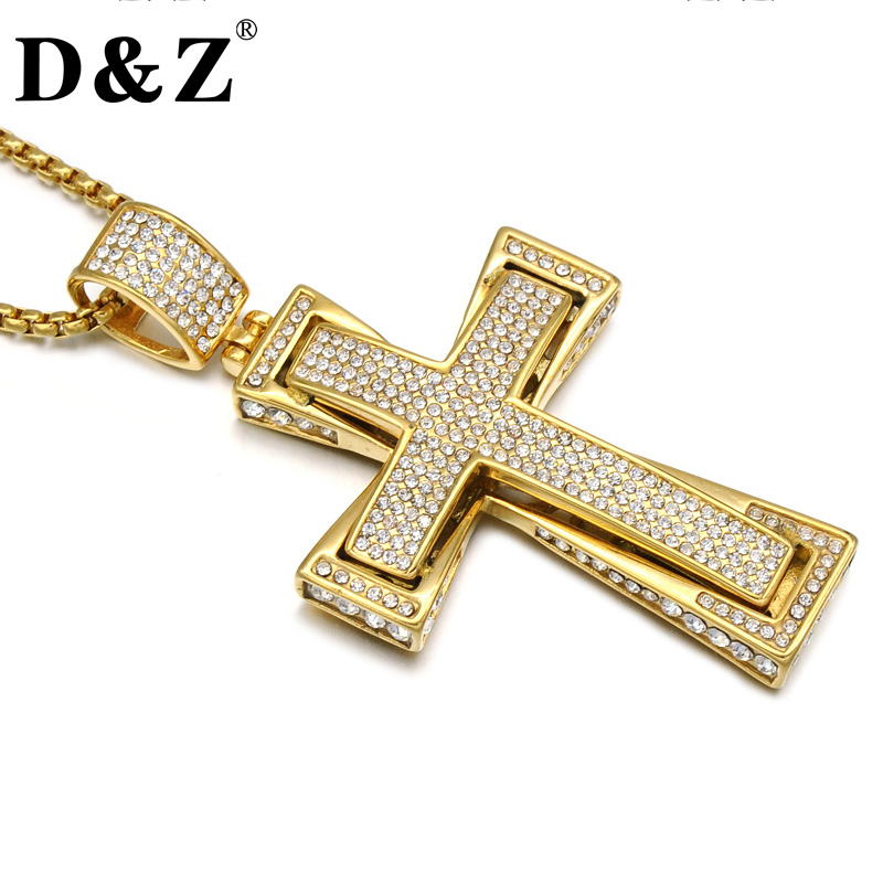 D&Z Iced Out Two Layers Pave Rhinestone Cross Pendant Necklace Gold Color Stainless Steel Crucifix Necklaces for Men Jewelry punk style hollow out stainless steel crucifix ring for men