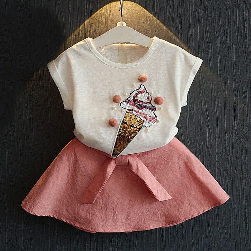 New Arrival 2017 Summer  Free Shipping Girl Fashion Group Of Children Cartoon T-Shirt+Short Skirt Suit Girl Clothing Set