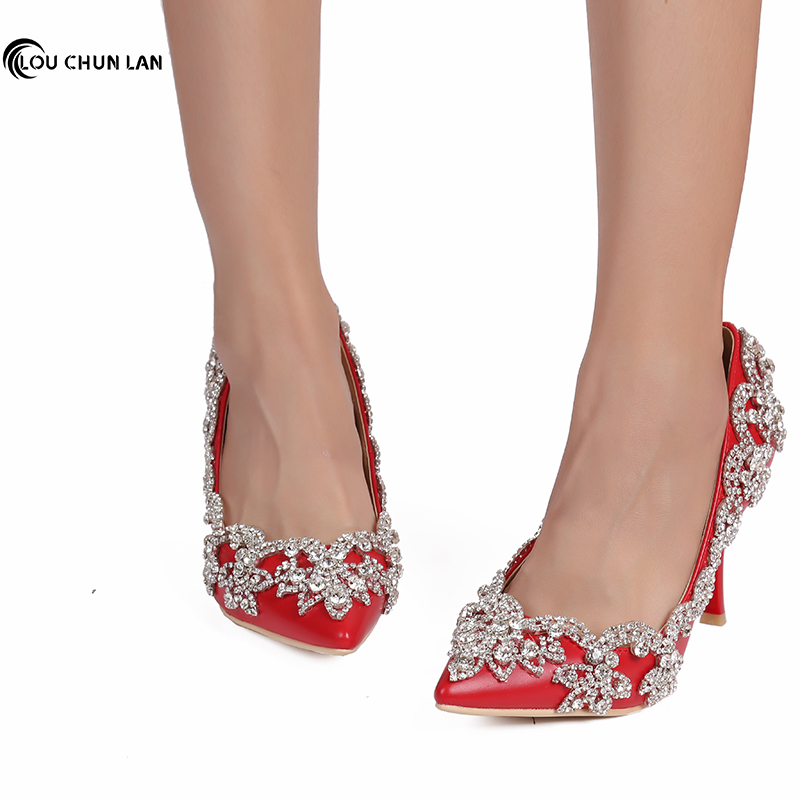 Sweet pink Wedding Shoes with crystal ultra High Heels pointed toe formal dress Shoes rhinestone Women Pumps large size 40 47