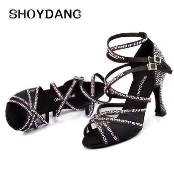SHOYDANC New Latin Dance Shoes Woman's Rhinestone Salsa Dance Shoes Lady Dance Sandals Ballroom Party Dance Shoes Black Red