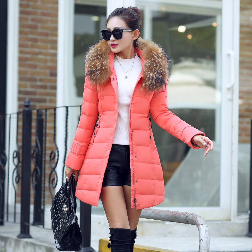 High Quality New Winter Raccoon Fur Collar Hooded Long Slim Women Winter Coat Jacket Warm Woman Parkas SPN8862 2017 winter new clothes to overcome the coat of women in the long reed rabbit hair fur fur coat fox raccoon fur collar